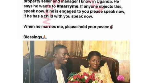 Lady posts her fiancé on Facebook, asks anyone who has a claim to him to indicate before it's too late