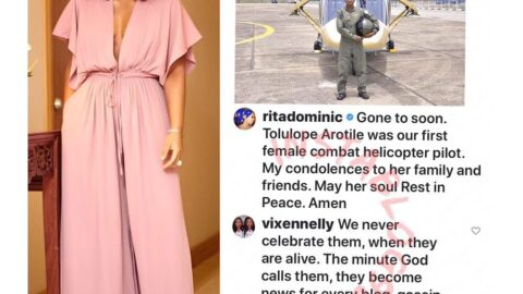 Actress Rita Dominic replies trolls who questioned why she didn't celebrate pilot Tolulope when she was alive. [Swipe]