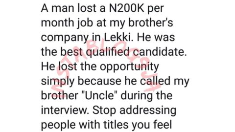 Man loses N200k job for calling his employer 'uncle'