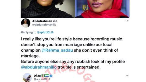 Singer Di'ja berates a fan who tried using her to mock actress Ramaha Sadau for being single