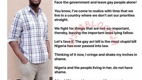 """""""Leave gay people alone. They are not your problem,"""" Blogger Kosi Ugo tells Nigerians . [Swipe]"""