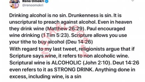 Drinking is not a sin. Scripture allows you use your tithe to buy alcohol. — Reno Omokri