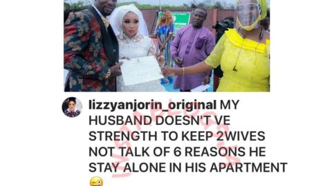 """""""He doesn't have strength to keep two wives let alone six,"""" Actress Lizzy Anjorin reacts to reports that her husband dumped his 5 wives and numerous children to marry her. [Swipe]"""