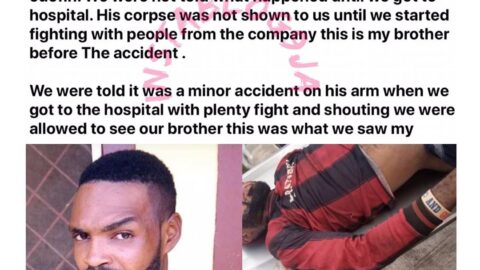 Graphic: Lady cries out for justice after her brother suffered a fatal occupational accident at a Lagos company. [Swipe]