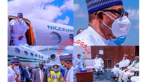 Pres. Buhari wears a face mask for the first time publicly, as he arrives Mali for the ECOWAS peace mission