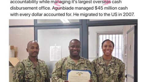 Nigerian man recognized by the US Navy for effectively managing $45m in its largest cash disbursing office. [Swipe]