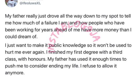 Nigerian barber calls out his dad for pushing him into depression because he finished with a 3rd class