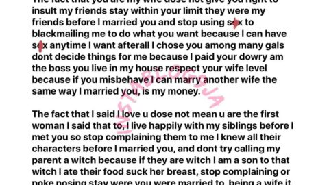 Nigerian businessman reads the riot act to his wife