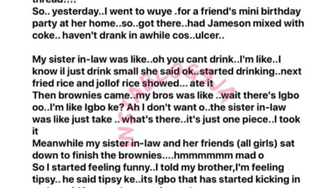 """"""" I almost died,"""" Architect Yetunde reveals the aftermath of a weed induced brownie she took at a birthday party [Swipe]"""