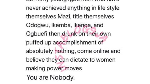 """""""You're a nobody,"""" Writer Sugabelly blasts Igbo men who give themselves titles without achieving anything in life"""