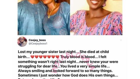 """""""I'll dedicate my life to praying for pregnant women,"""" man vows, as he loses his sister to childbirth, after 5yrs of waiting. [Swipe]"""