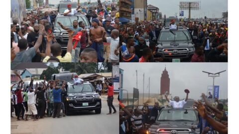 Mammoth crowd greets Senator Orji Uzor Kalu as he visits his State, Abia, for the first time since his release from prison.