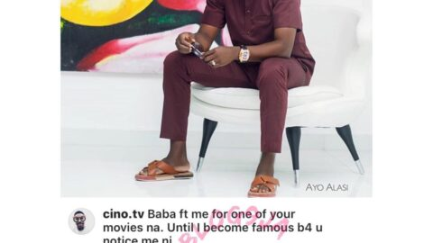 Comedian Ay replies a follower asking for a movie feature