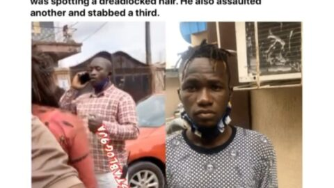 Graphic: Lagos Police Officer  allegedly assaults, stabs a dancer with dreadlocks, then slaps a female eyewitness [Swipe]