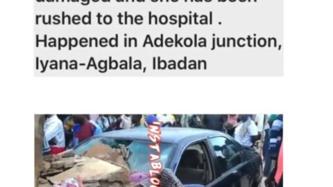 Lady loses her leg as a drunk driver rams his car into her shop in Ibadan, Oyo State