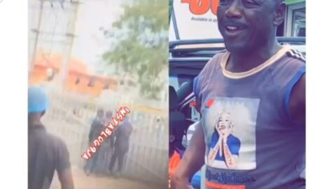Security officer arrests a 'hungry' boy for begging a customer for money to eat in Ikorodu, Lagos