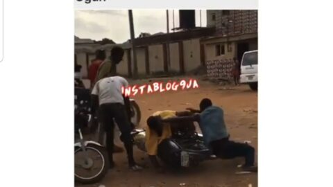 Two men high on triple distilled 'ogogoro,' fight over 'flex money' given to them to share in Ogun State 📹 @Osazsings