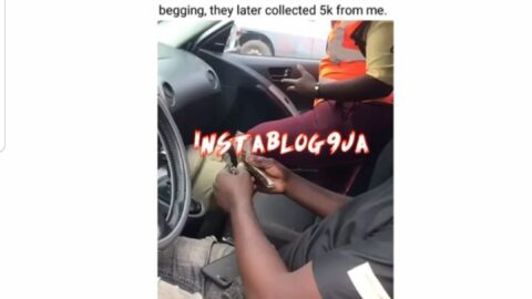 Man shares video of the moment a LASTMA officer allegedly collected N5k from him in Agege