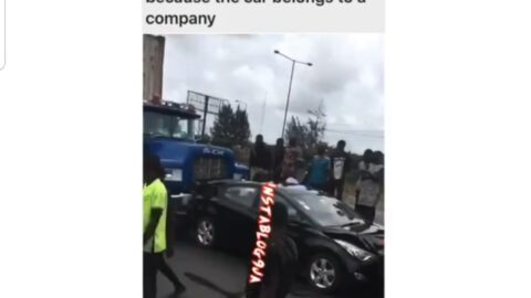 Devastated driver puts hands on his head as truck rear-ends his company's official car in Mile 2, Lagos