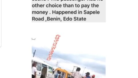 Bus driver goes naked to collect his N150 fare from a passenger acting up in Benin, Edo State 📹 @jbliss_concept