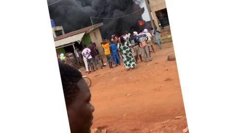 Viewers Discretion: Two children reportedly burnt to death, four others sustain severe burns as gas station explodes today in Ijebu Ode, Ogun State. [Swipe]