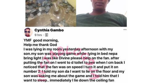 Lady narrowly escaped being killed by a ceiling fan in Abuja