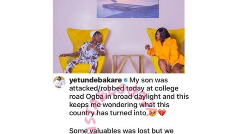 Actress Yetunde Bakare's son robbed in broad daylight in Ogba, Lagos State