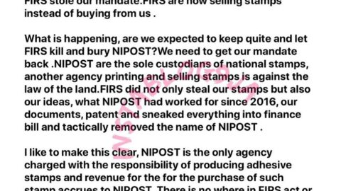 NIPOST boss, Maimuna Abubakar, cries out to Nigerians to come to their aid after FIRS allegedly took business from them
