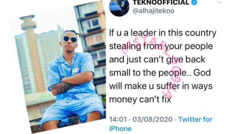 Singer Tekno says a prayer for those stealing from Nigerians