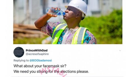 """Face Mask: """"Is this one's mom mad,"""" ex Lagos Guber candidate, Gbadamosi, tackles a critic. [Swipe]"""