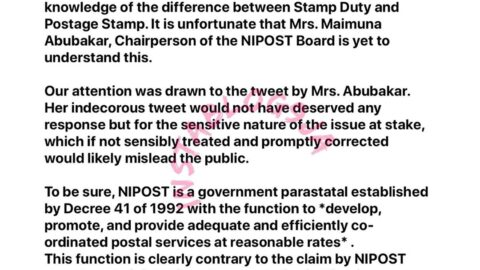 You don't know the difference between Stamp Duty and Postage Stamp — FIRS mocks NIPOST. [Swipe]