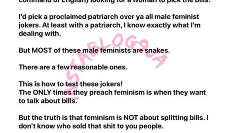 Most Nigerian 'male feminists' are only feminists when it comes to sharing bills — Writer Nkechi Bianze. [Swipe]
