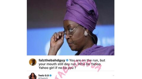 OAP ToolzO and rapper Falz tackle Diezani over her 'Yahoo boys' comment. [Swipe]