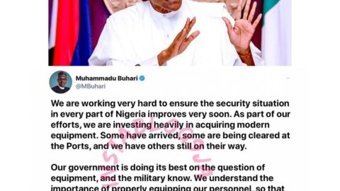 Insecurity: We are investing heavily in acquiring modern equipment. I ask for some patience — Pres. Buhari. [Swipe]