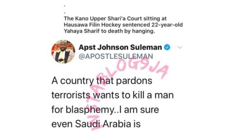 Nigeria wants to kill a man for blasphemy after pardoning terrorists — Apostle Suleman