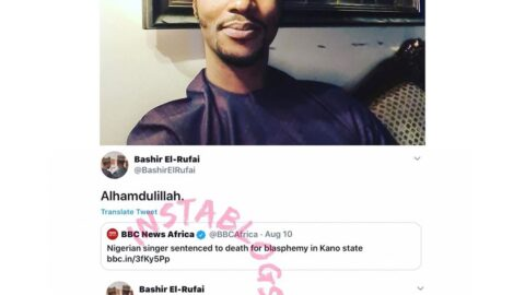 """""""Praise be to God,"""" Gov. El-Rufai's son, Bashir, reacts to the report of Kano singer sentenced to death for blasphemy"""