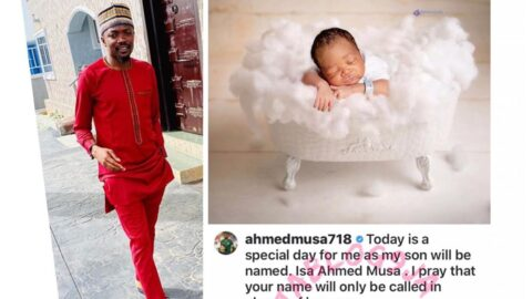 Footballer Ahmed Musa shares the first picture of his newborn son. Reveals his name