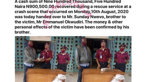 Road Safety returns N900,500 recovered during a rescue service at a crash scene