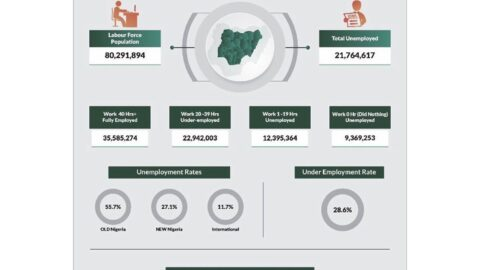 Number of unemployed Nigerians now 21.7m from 20.93m in 2018 — National Bureau of Statistics