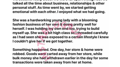 Man shares a thought-provoking story of his hard working friend who slept with a man to recover all she lost to robbers. [Swipe]