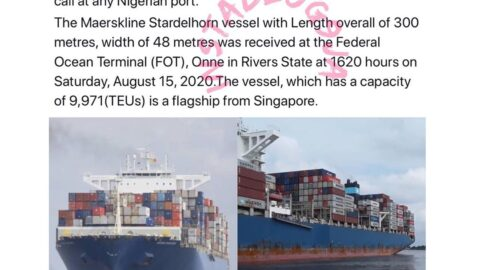 History made as the biggest container vessel to ever call at any Nigerian port, berths in Onne, Rivers State