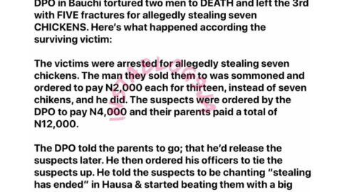 DPO allegedly tortures two men to death for stealing seven chickens in Bauchi State. [Swipe]