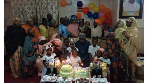 House of Rep member, Hon. Ado-Doguwa, poses with his 4 wives and 27 children as he clocks 55