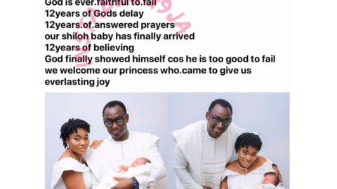 Nigerian couple welcomes baby girl after 12yrs of waiting