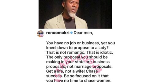 You're an idiot if you have no job but kneel down to purpose to a woman — Reno Omokri