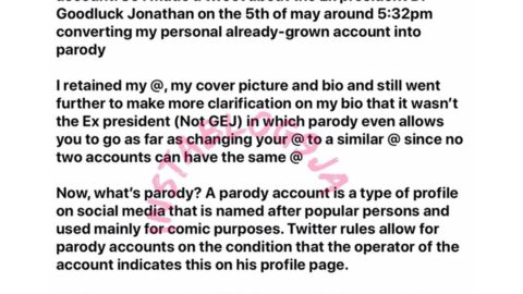 How I was imprisoned for 90 days for creating ex president GEJ's parody account Twitter — Media Personality Shola. [Swipe]