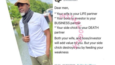 Men, your side chick is your death partner — Reno Omokri