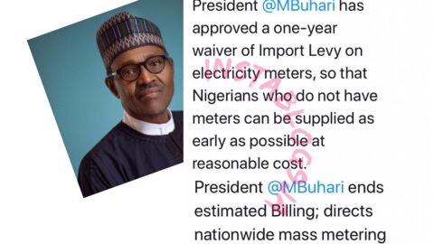 Pres. Buhari ends estimated billing, directs mass metering for Nigerians