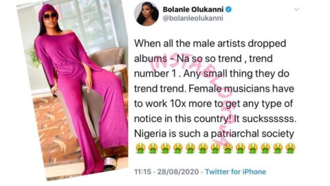 Nigeria is a patriarchal society. Female musicians have to work 10x more to get noticed. — Media Personality Bolanle Olukanni