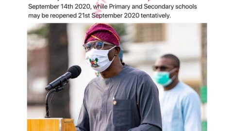 COVID-19: Tertiary institutions and Primary/Secondary schools to open Sept 14. and Sept 21. respectively in Lagos State
